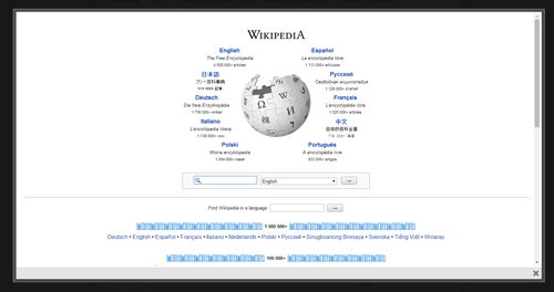 screenshot of external page in lightbox using WordPress ColorBox plugin