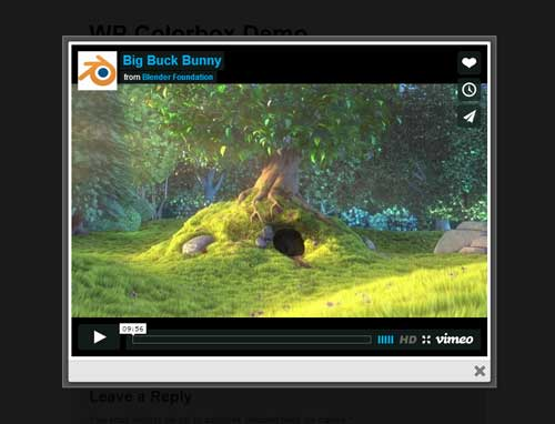 screenshot of vimeo video in lightbox using WordPress ColorBox plugin