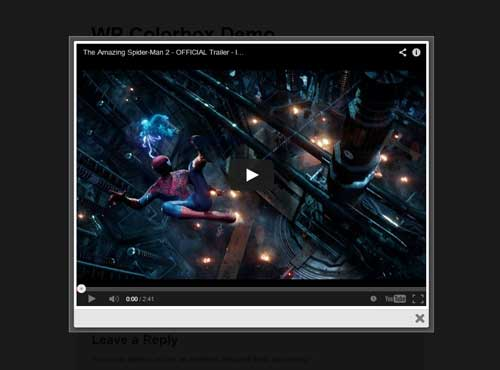 screenshot of YouTube video in lightbox using WordPress ColorBox plugin